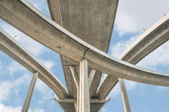 Elevated expressway. The curve of suspension bridge, Thailand. Royalty Free Stock Images