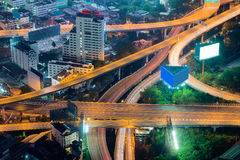 Elevated expressway intersection at night Royalty Free Stock Images
