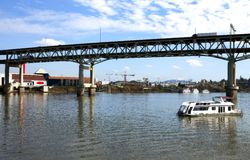 Elevated freeway & boat, Portland OR. Stock Photos