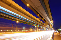 Elevated freeway with traffic trail Royalty Free Stock Images