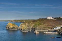 Elevated Harbour View, Mullion Cove, Cornwall stock image