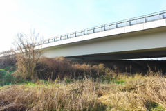 Elevated highway that passes in the middle of the countryside Royalty Free Stock Photo