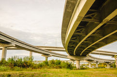 Elevated highway road and  pillars Royalty Free Stock Image