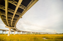 Elevated highway road and  pillars Stock Photography