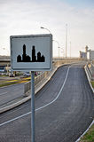 Elevated highway with sign Stock Photography