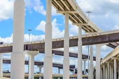Elevated highway. Upward view of Elevated highway with blue sky and clouds Stock Photos