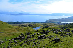 Elevated Lake in the Highlands. Elevated lakes as seen from the Old Man of Storr in Scotland Royalty Free Stock Photo