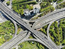 Elevated 5 Levels Road Junction in Shanghai Center stock images