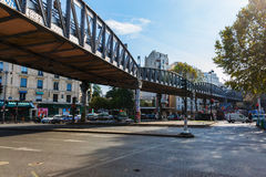 Elevated metro at Avenue Jean Jaures in Paris, France Royalty Free Stock Image