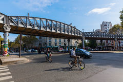 Elevated metro at Avenue Jean Jaures in Paris, France Royalty Free Stock Photo
