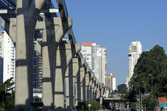 Elevated monorail under construction in Sao Paulo Royalty Free Stock Image