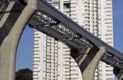 Elevated monorail under construction in Sao Paulo Royalty Free Stock Photos