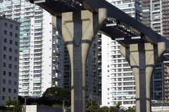 Elevated monorail under construction in Sao Paulo Royalty Free Stock Images