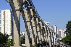 Elevated monorail under construction in Sao Paulo Stock Images