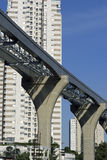 Elevated monorail under construction in Sao Paulo Stock Photo