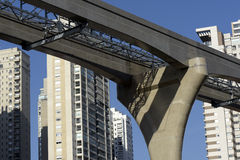 Elevated monorail under construction in Sao Paulo Stock Image