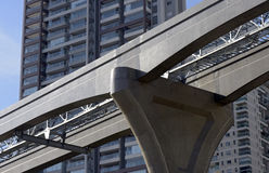 Elevated monorail under construction in Sao Paulo Royalty Free Stock Photography