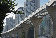 Elevated monorail under construction in Sao Paulo Royalty Free Stock Photo