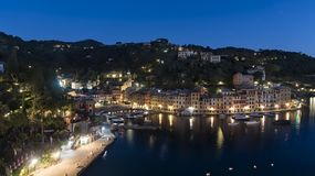 Elevated night scene of the waterfront, Portofino royalty free stock photography