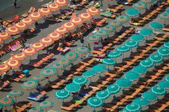 Elevated pattern view of famous beach umbrellas of Amalfi, a town in the province of Salerno, in the region of Campania, Italy, on Stock Images