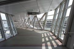 Elevated pedestrian skywalk between buildings Royalty Free Stock Photo
