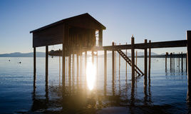 Elevated Pier Walkway to Boathouse Lake Tahoe City Sunrise Stock Photos