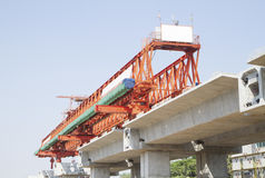 Elevated rail track on construction site Stock Photo