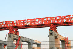 Elevated rail track on large columns Stock Images