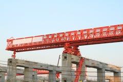 Elevated rail track on large columns Stock Image