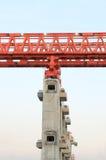 Elevated rail track on large columns Stock Photo