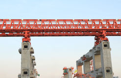 Elevated rail track on large columns Royalty Free Stock Photography