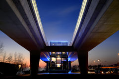 Brescia, Italy - February 13, 2016: An elevated station of the urban subway system of Brescia city located in San Polo suburb. An elevated railroad of Brescia Royalty Free Stock Photos