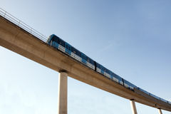 Elevated railway with train stock photography