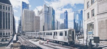 Elevated railway train in Chicago royalty free stock photography