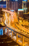 Elevated road closeup at night Stock Photo