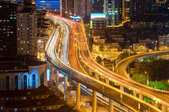 Elevated road closeup at night Royalty Free Stock Photography