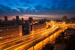 Elevated road at dawn Stock Images