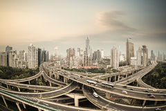 Elevated road junction panorama in shanghai at dusk,China Royalty Free Stock Image