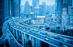 Elevated road with modern city stock images