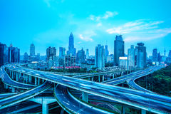 Elevated road in shanghai. Vehicles motion blur on the elevated road in shanghai Stock Photos