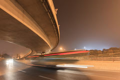Elevated road and traffic in motion blur at night, Beijing, China Royalty Free Stock Photo