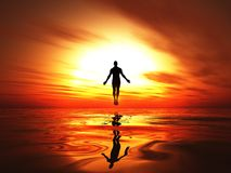Elevated silhouette of man at sunset Royalty Free Stock Photo