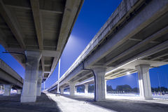 Elevated traffic highway. Large elevated traffic highway at night time Stock Image