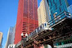 Elevated train in Chicago. Chicago downtown urban skyscrapers and elevated train Royalty Free Stock Image