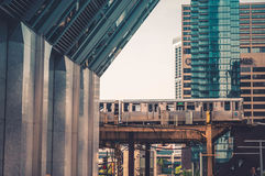 Elevated train in city  Stock Images