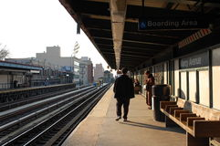 An elevated train stop in New York City Royalty Free Stock Image