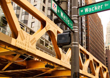 Elevated Train System in Chicago on the Corner of Wells and Wacker. Chicago`s transit system, the elevated el train, seen moving through a busy intersection on stock image