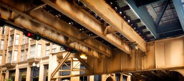 Elevated Train Tracks above the streets and between buildings at The Loop - Chicago, Illinois Royalty Free Stock Image