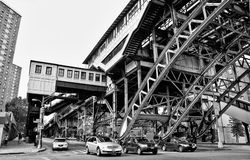 Elevated train tracks in Harlem Stock Image