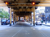 Elevated train tracks in Chicago downtown Stock Photos